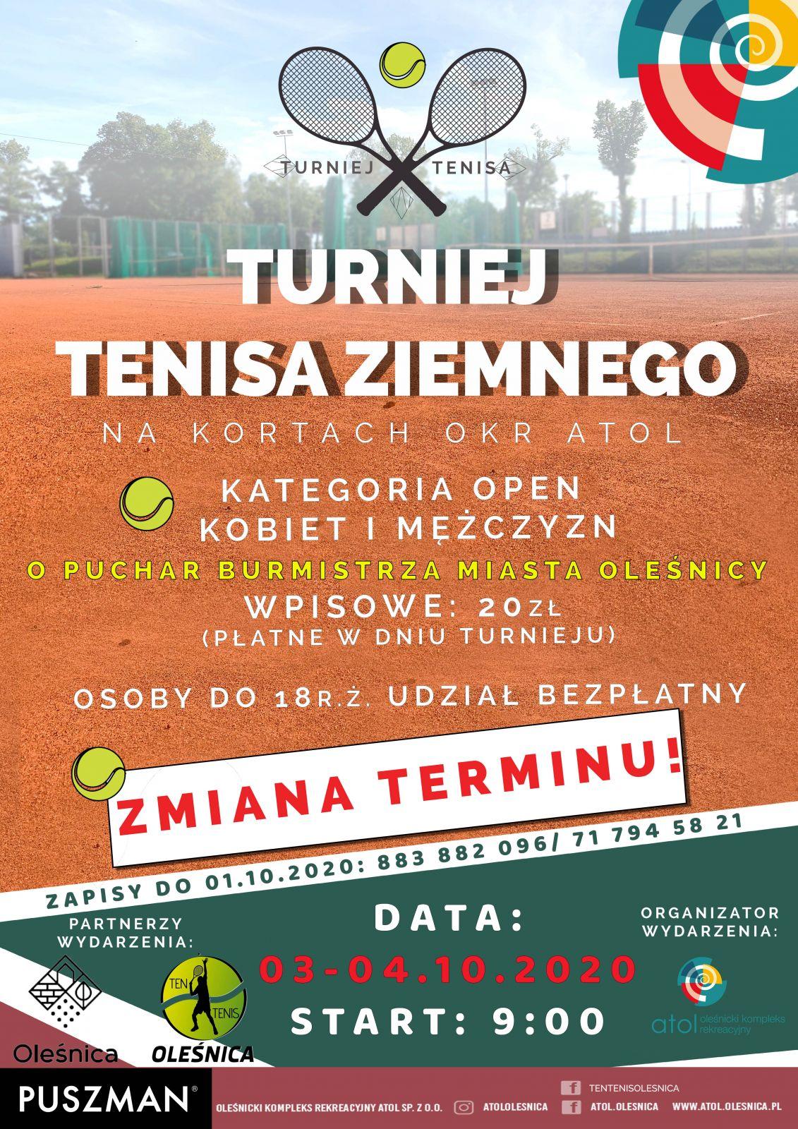 Turniej tenisa zmiana terminu